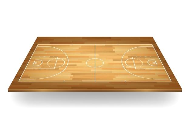 Fundo da quadra de basquete de madeira.
