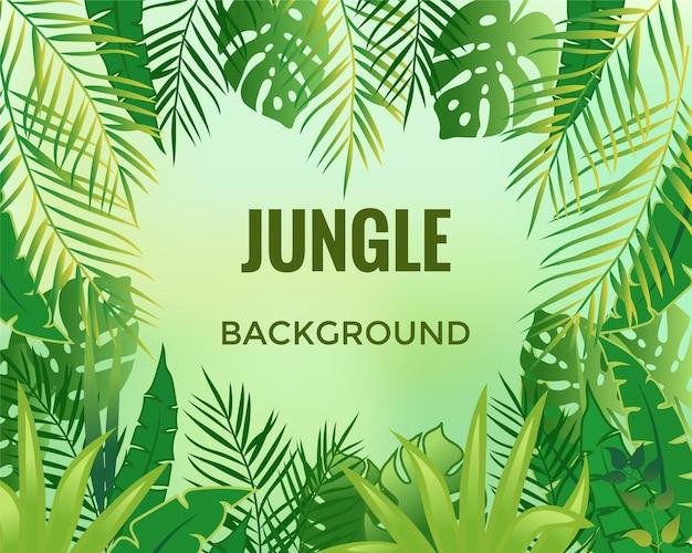 Fundo da selva, ilustração vetorial de árvores e plantas