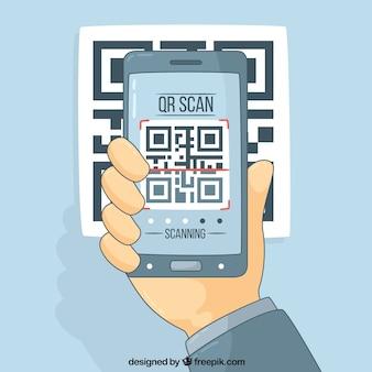 Fundo da tecnologia com código móvel e qr