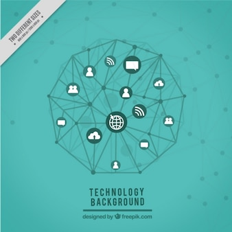 Fundo da tecnologia com ícones ligados