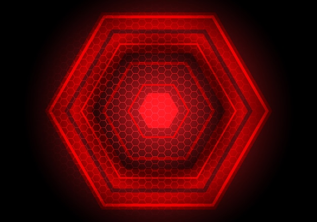 Fundo da tecnologia do preto do poder do hexágono da luz vermelha.
