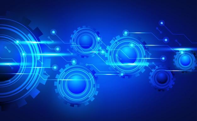 Fundo da tecnologia, placa de circuito e conceito do mecanismo da roda de engrenagem. com efeito neon.