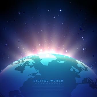 Fundo da terra com vetor de luz brilhante