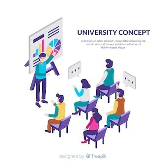 Fundo da universidade isométrica com os alunos