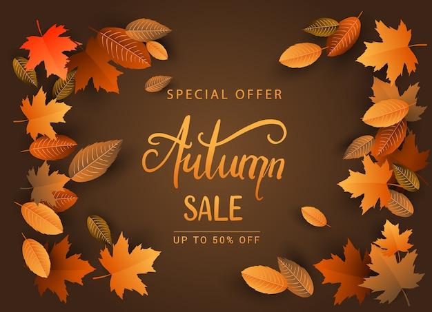 Fundo da venda do outono, projeto desenhado mão da caligrafia do outono
