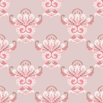 Fundo da web em azulejo clássico real luxuoso de damasco rosa fofo