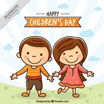 Fundo das crianças agradáveis desenhados à mão Vetor grátis