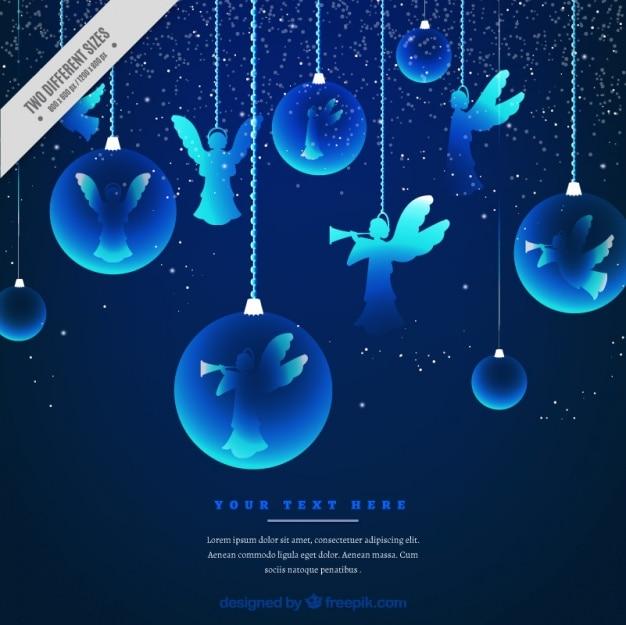 Fundo das esferas do natal e anjos