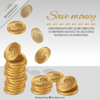 Fundo das moedas com símbolo do dólar