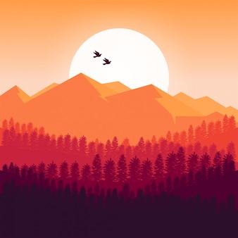 Fundo das montanhas ao pôr do sol