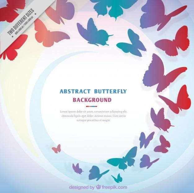 Fundo das silhuetas coloridas borboletas