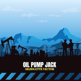 Fundo das silhuetas da indústria da plataforma petrolífera.