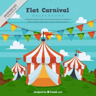 Fundo das tendas de circo com guirlandas