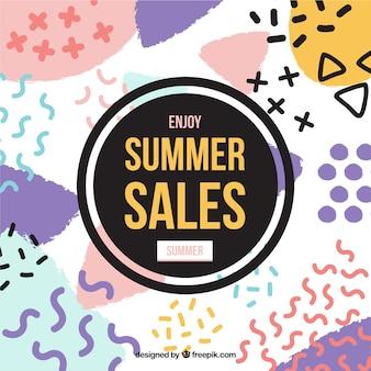 Fundo das vendas de verão com formas modernas
