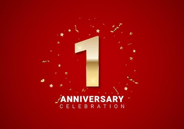 Fundo de 1 aniversário com números dourados, confetes, estrelas em fundo vermelho brilhante nas férias. ilustração vetorial eps10