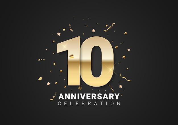 Fundo de 10 aniversário com números dourados, confetes, estrelas em fundo preto brilhante de férias. ilustração vetorial