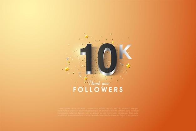 Fundo de 10k follower com figuras prateadas e rodeado por pequenas estrelas.