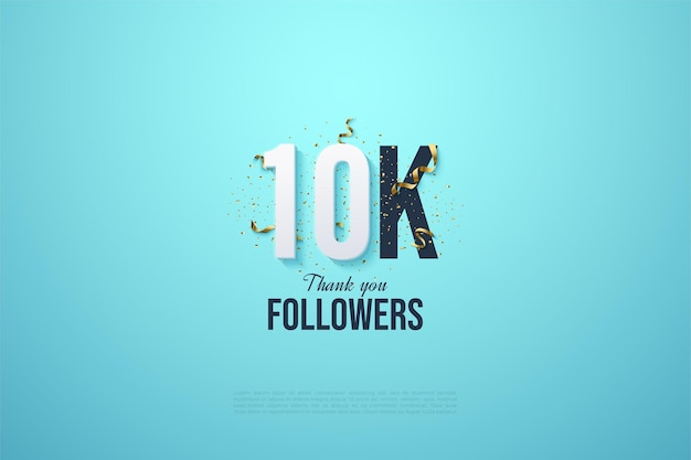 Fundo de 10k seguidores com números de ouro e fitas.