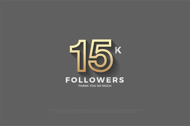 Fundo de 15k seguidores com fundo cinza e números com listras marrons.
