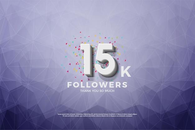 Fundo de 15k seguidores com fundo ilustrado em papel cristalizado.