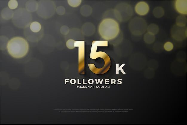 Fundo de 15k seguidores com ilustração de figura dourada sombreada.