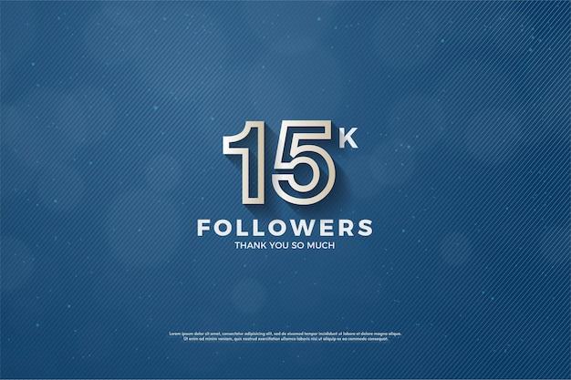Fundo de 15k seguidores com ilustração de figura listrada marrom na borda.