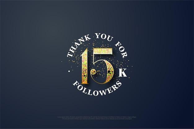 Fundo de 15k seguidores com ilustração de figuras de brilho dourado espalhado.