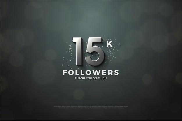Fundo de 15k seguidores com ilustração de número prateado.