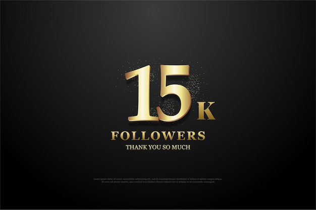 Fundo de 15k seguidores com ilustração iluminada de números dourados.