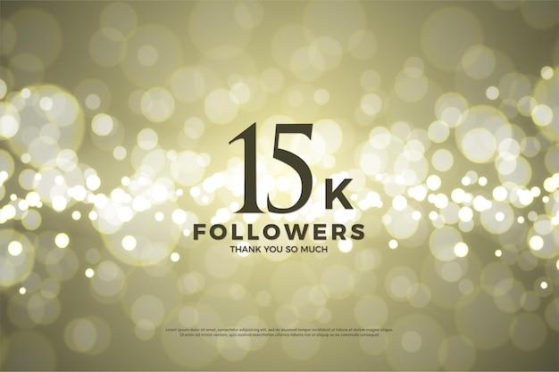 Fundo de 15k seguidores com ilustrações de papel dourado.