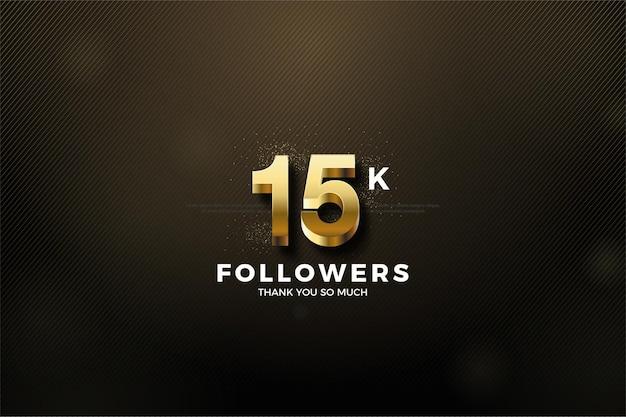 Fundo de 15k seguidores com números de ouro 3d em relevo.