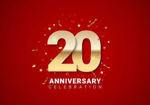 Fundo de 20 aniversário com números dourados, confetes, estrelas em fundo vermelho brilhante nas férias. ilustração vetorial eps10