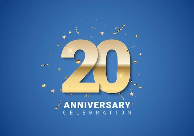 Fundo de 20 aniversário com números dourados, confetes, estrelas sobre fundo azul brilhante. ilustração vetorial eps10