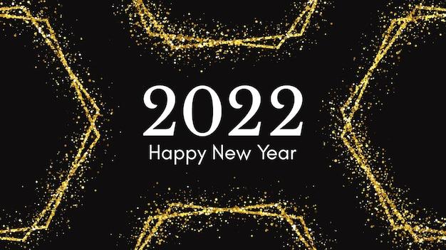Fundo de 2022 feliz ano novo. inscrição branca com efeitos de glitter dourados para cartões de férias de natal, folhetos ou cartazes. ilustração vetorial