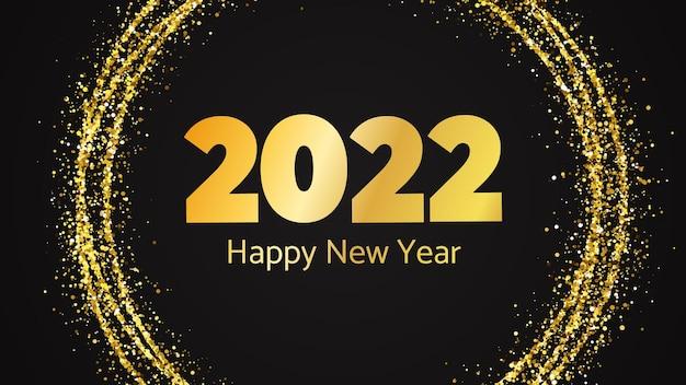Fundo de 2022 feliz ano novo. inscrição de ouro em um círculo de glitter dourados para cartões de férias de natal, folhetos ou cartazes. ilustração vetorial