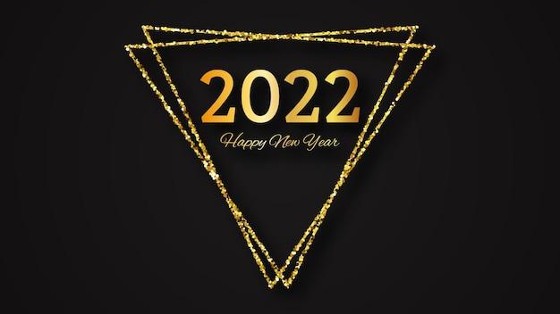 Fundo de 2022 feliz ano novo. inscrição de ouro em um triângulo de glitter dourados para cartões de férias de natal, folhetos ou cartazes. ilustração vetorial