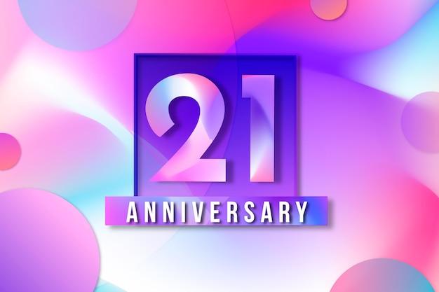 Fundo de 21 anos com elementos gradientes
