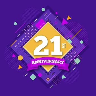 Fundo de 21 anos com formas geométricas