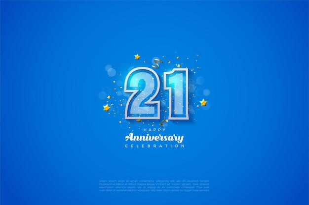Fundo de 21 anos com ilustração de número esboçado em azul e branco.