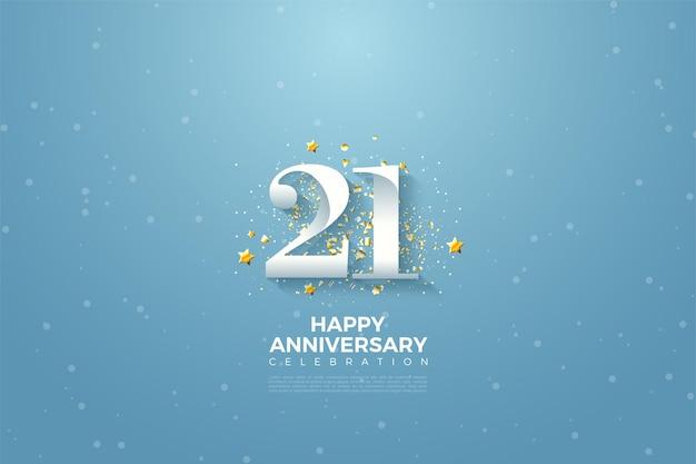 Fundo de 21 anos com ilustração de número no céu azul.