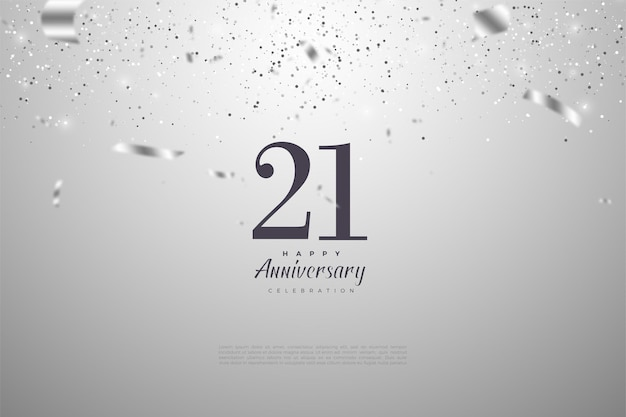 Fundo de 21 anos com ilustrações de números e folha de prata.