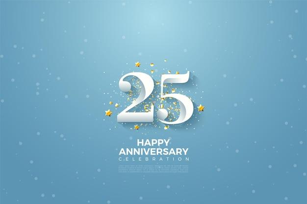 Fundo de 25º aniversário com ilustração de número 3d em um céu azul.