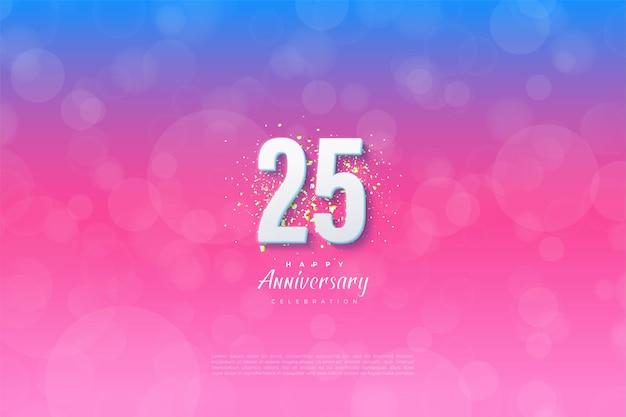 Fundo de 25º aniversário com ilustração de número em fundo graduado de azul a rosa.