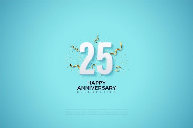 Fundo de 25º aniversário com números em fundo azul celeste brilhante.