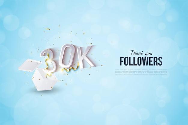 Fundo de 30 mil seguidores com ilustração de números que aparecem nos presentes.