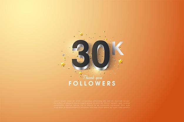 Fundo de 30k seguidores com figuras em relevo em prata.