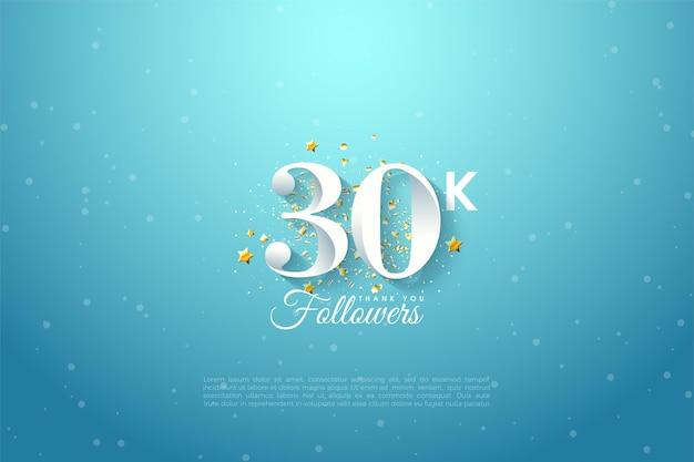 Fundo de 30k seguidores com ilustração de números sobre o céu azul.
