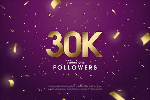 Fundo de 30k seguidores com ilustração de papel dourado caindo sobre fundo roxo.