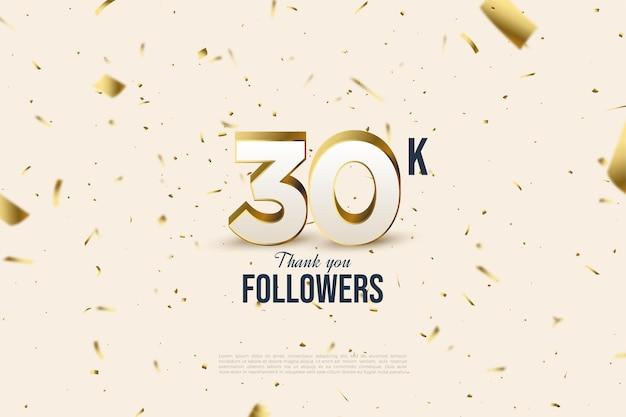 Fundo de 30k seguidores com ilustrações de papel dourado caindo.