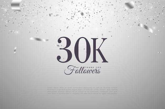 Fundo de 30k seguidores com ilustrações de papel prateado caindo.